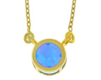 14Kt Yellow Gold Plated Blue Opal Round Bezel Pendant