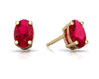 14Kt Yellow Gold Ruby Oval Stud Earrings