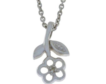 Diamond Flower Necklace Pendant .925 Sterling Silver