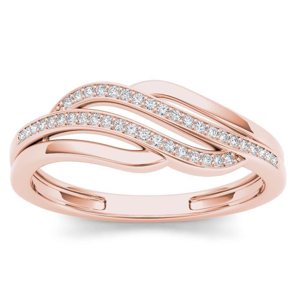 Wave Design Bands: 10Kt Rose Gold Diamond Wave Design Ring
