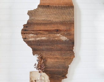 Barn Wood Illinois Wall Hanging Sign - Rustic Wooden State Art