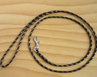Lace Braided Dog Show Leash in Pewter & Black Kangaroo Leather Lace - Lead On Jeddah