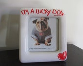 Vintage I'M a Lucky Dog ceramic photo frame heart frame Purina advertising promo