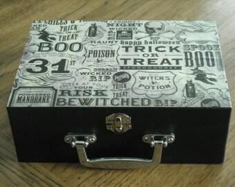 Vintage Witch's Brew Pattern Black Wooden Jewelry Box