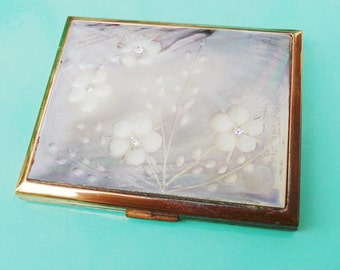 Vintage Elgin Mother of Pearl Compact, Elgin American, Purse Handbag Compact, Mirror Compact, Makeup Compact, 1950s Vanity Compact