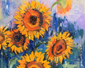 "Sunflowers floral painting - original oil painting on canvas, 27.6"" x 27.6"", Abstract, Impasto painting, Fine art by Valiulina"