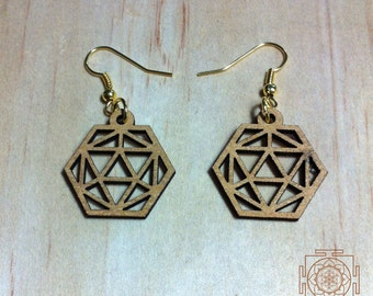 platonic solid Dodecahedron / laser cut / wood / sacred geometry / handmade earrings / brass / antique brass / silver / boho /platonic solid