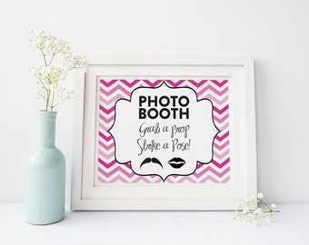 Chevron Ombre Photobooth Sign DIY Wedding Poster Printable... PINK - Instant Download