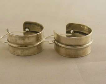 Silver Form Folded and Hammered Hoop Earrings