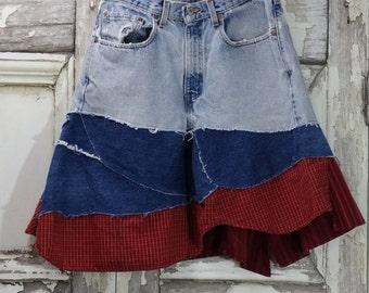 Sale Hippy Jean Skirt Eco Fashion Upcycled Clothing Upcycled Jeans Boho Chic