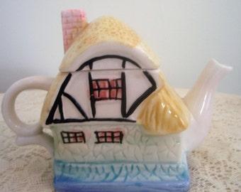 Cottage Tea Pot, Collectible ceramic tea pot, Little cottage shaped Tea Pot. Small two cup tea pot.