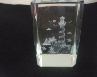 Glass Lighthouse Paperweight, Square clear glass with lighthouse scene, collectible lighthouse decoration, home or office decoration