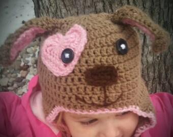 Puppy Dog hat - Crochet puppy  Dog Hat - pink Dog Hat - Newborn Photo Prop - Girl Hat - Baby shower gift - pink sparkle  puppy dog Hat