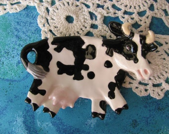 Black and White Cow Ceramic Teabag Holder, Spoon Rest or Trinket Dish