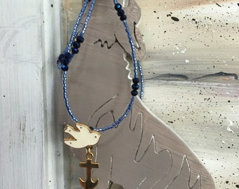 Upcycled Marc Jacobs Swallow Anchor Pendent