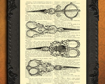 sewing scissors print embroidery scissors art sewing accessories antique illustration