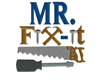 Embroidery Design, Mr Fix It, 2 size filled stitch machine embroidery