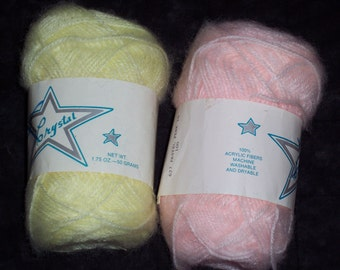 Vintage baby yarn,Crystal,pink or yellow,1.75 oz,50 gm,soft fuzzy acrylic,