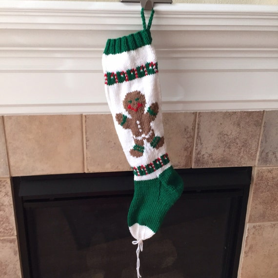 Hand Knitted Gingerbread Boy Christmas Stocking