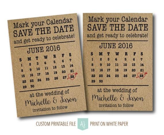 Diy Calendar Save The Date : Rustic calendar save the date diy printable digital