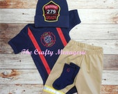 Baby Boy Coming Home Outfit, Fireman Layette, Personalized Boy Bodysuit, Personalized Firefighter Bodysuit, Socks, Hat, with Pants