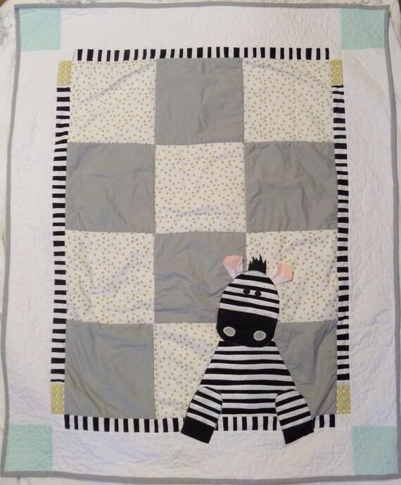 Gender neutral baby quilt Zebra Safari nursery bedding