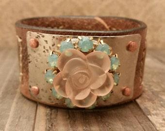 Rhinestone Flower Leather Cuff
