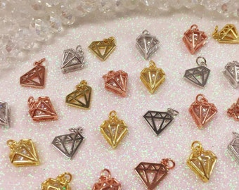 Diamond Charm, Diamond Pendant, CZ Diamond Charm, CZ Diamond Pendant, Sterling Silver Diamond Charm, Sterling Silver Diamond Pendant,Diamond