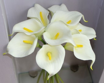9pcs Cream White Calla Lilies Real Touch Flowers Natural Calla Lily Bouquet For Wedding Decor Center Pieces