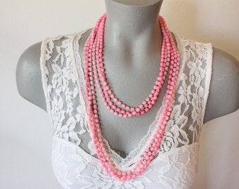 Vintage Long Bright Pink Plastic Three Strand Bead Necklace (retro 60s 70s multi strand pop mod colorful spring summer easter chunky)