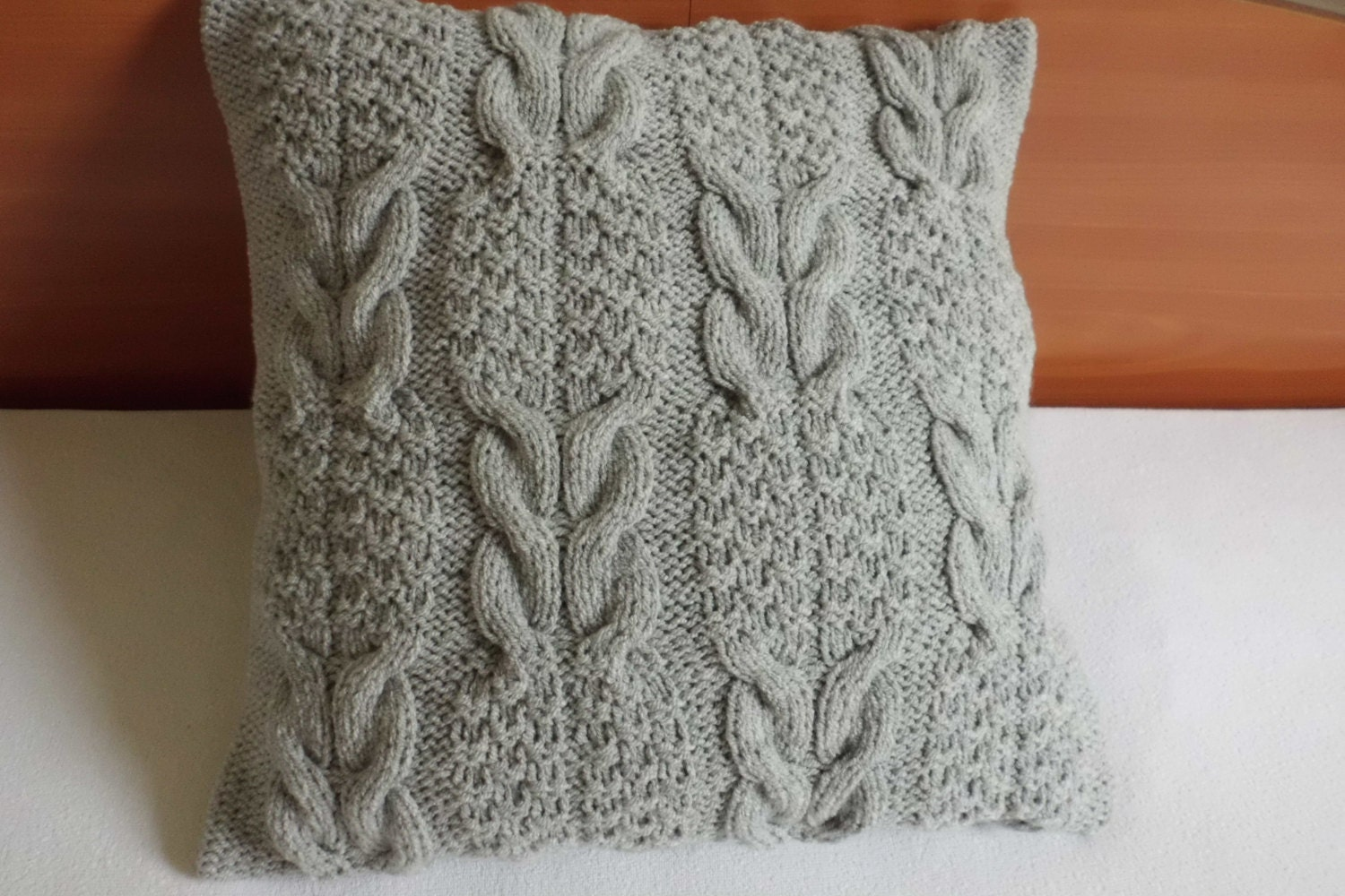 Grey Knit Throw Pillow : Pillow Cover Cable Knit Silver Gray Hand Knit Throw Pillow