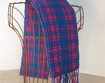 Plaid handwoven wool blue and pink scarf with twisted fringe -wool scarf - plaid wool scarf