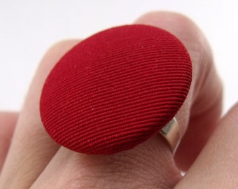 Fabric Button Ring - Ruby Red on Silver Plated Ring Base