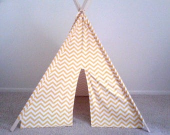 Yellow Chevron teepee, yellow and White Chevron play tent, Made to order