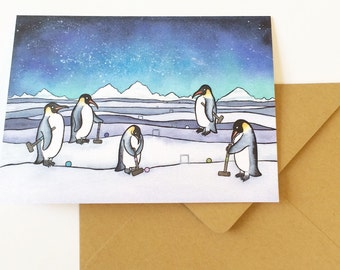Penguin Croquet Art card- Penguin Holiday card - Penguins greeting card  - from original watercolor painting