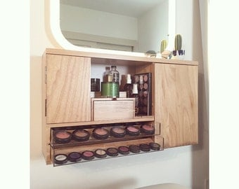 wall mounted makeup vanity wall mounted makeup organizer vanity by bleachla on etsy 10261