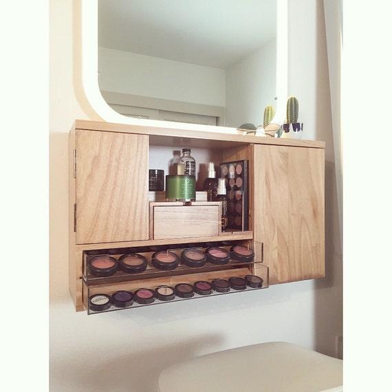 wall mounted makeup organizer vanity yellow wood grain
