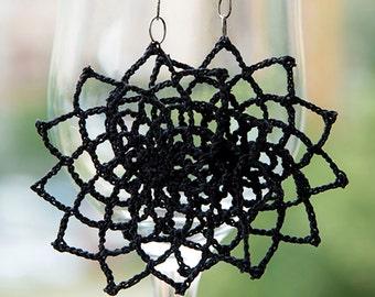 crochet black earrings