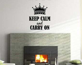Wall Decal Keep Calm And Carry On Inspirational Quotes Wall Decals Wall Sticker Wall Quote Decal (JR183)
