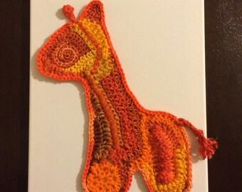 Giraffe Freeform Crochet Wall Art on Canvas – Orange and Yellow – One of A Kind
