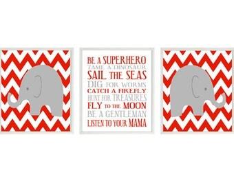 Elephant Nursery Art, Baby Boy Nursery, Boy Rules Art, Be A Superhero Print, Red, Gray, Elephant Art, Boy Wall Art, Boy Room, Chevron Print