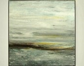 """Abstract Art Painting , Landscape painting, Acrylic painting """"Stormy"""" by M.Schöneberg  24x24x0,75"""