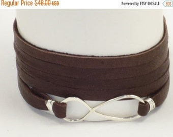 ON SALE Handmade Sterling Silver Infinity Leather Wrap Bracelet in Chocolate Brown