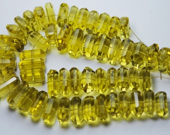 7 Inch Strand,Lemon Green Quartz Faceted Fancy Cut Nuggets Shape,12-16mm Long,Great Price