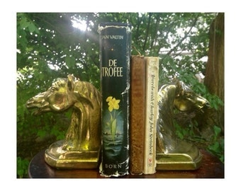 Vintage Cast Metal Horse Bookends -Brass Plated- 1950's