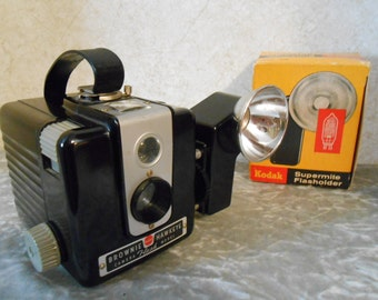 1950's Kodak Brownie Hawkeye with Flash Attachment Camera