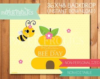 "Bumble Bee Printable Backdrop 48"" x 36"", Digital, DIY, Instant Download"