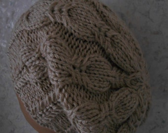PDF KNITTING PATTERN Beanie hat cabled pattern