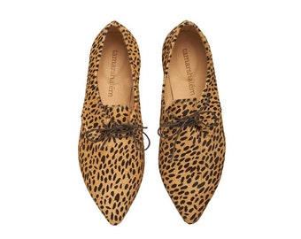 Special Edition! leather Leopard flat tied handmade shoes