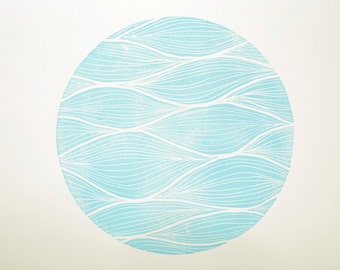 Waves - Original Hand-Pulled Linocut Print